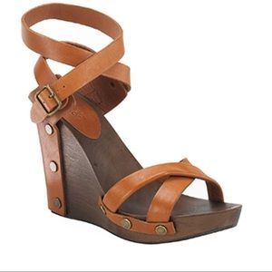 See By Chloe Cognac Leather Wood Wedge Sandals